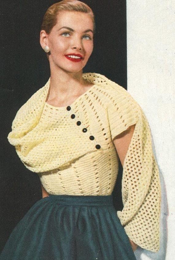 Vintage 1950s Jumper Sweater Lacy Stole Blouse Crochet Pattern PDF 5201 50s Top Shirt Size 12 14 16 Bust 30 32 34 50s Cap Sleeves Diagonal