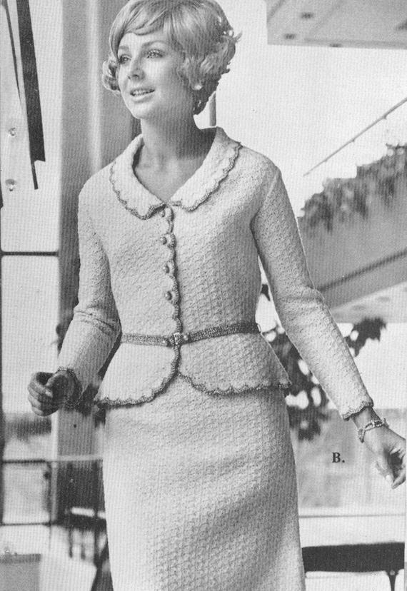 vintage 1970s crocheted peplum suit pattern pdf 7006 jacket