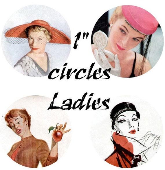 Ladies Circles Digital Collage Sheet Clip Art 48 1 inch circles D112