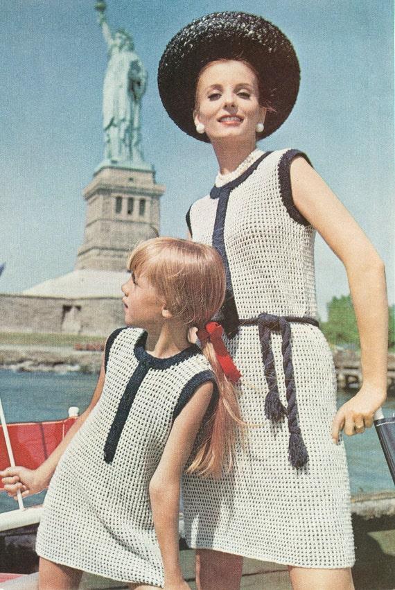Vintage 1960s Mother Daughter Shift Dress Knitting Pattern PDF 6906