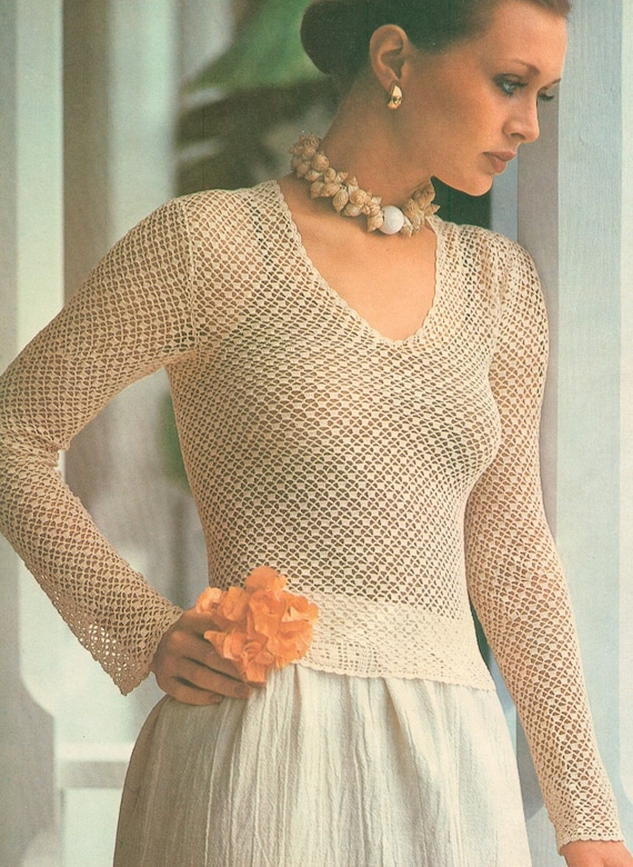 Vintage 1970s Crochet Snug Long Sleeve Blouse Pattern 70s Jumper Bust 30 31 32 33 34 35 36 XS S M Extra Small Medium Pdf 7606
