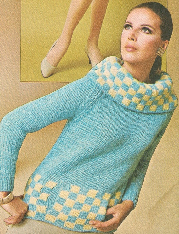 Muff Knitting Pattern : Vintage 1960s Cowl Neck Checked Pullover Sweater with Muff