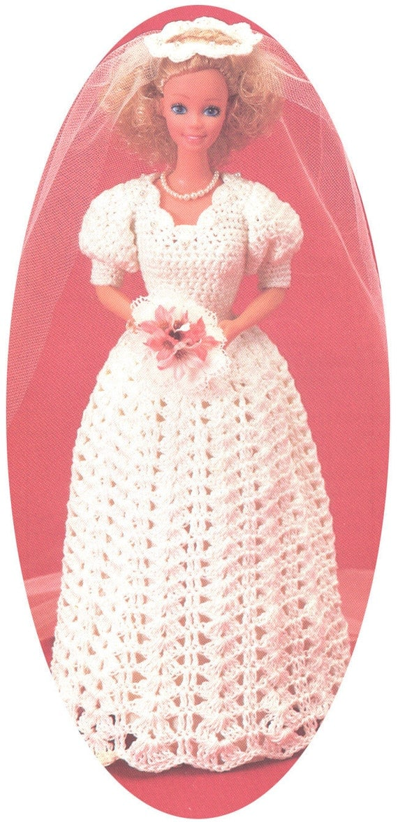 Vintage barbie wedding dress crochet pattern pdf 8303 for Crochet wedding dress patterns