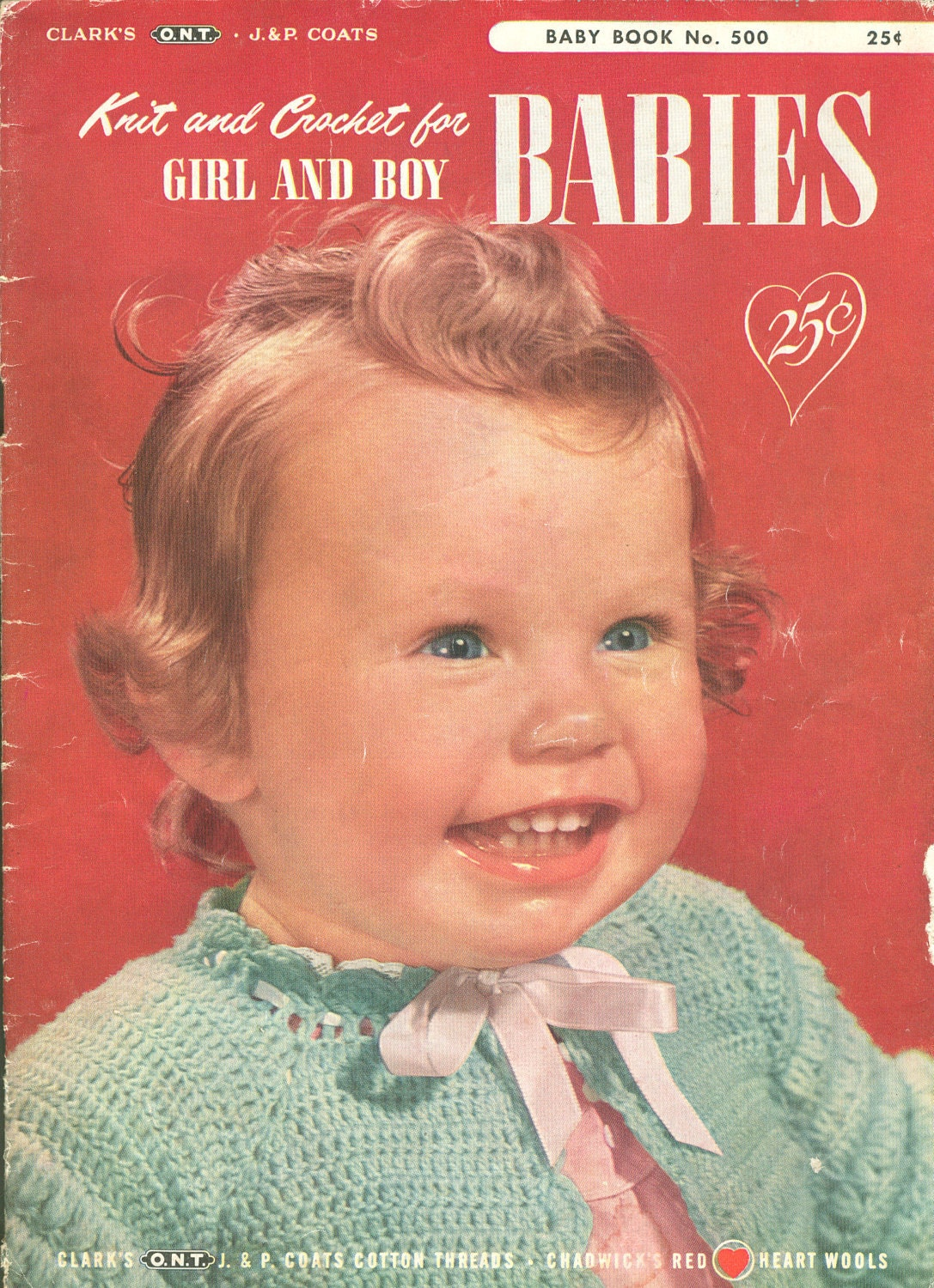 Old Knitting Pattern Books : Vintage 1950s Knit and Crochet Babies Pattern Book PDF EBook