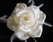 Ivory silk lace bridal rose clip - handmade silk wedding rose - silk flower hair clip
