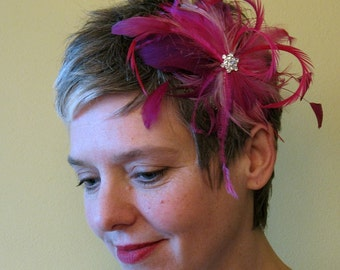 Reserved listing for Belinda - Varigated pink feather comb - bridal feather comb
