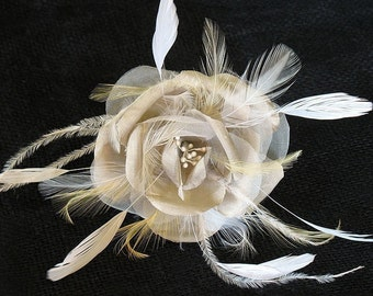 Champagne and ivory silk rose on a bobby pin