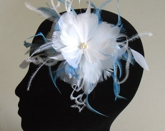 White and blue feather clip - bridal hair clip -bridesmaid feather hair piece