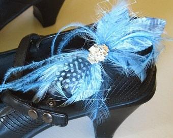 Cornflower blue rhinestone shoe clips