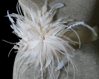 Ivory champagne bridal feather flower belt - wedding feather brooch pin - wedding belt