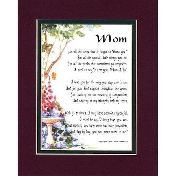 Mom Mother's Day Gift Touching 8x10 Poem Birthday