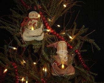 Primitive Folk Art Snowman and Santa Candle Ornament