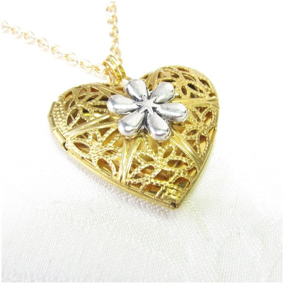 Aromatherapy Pendant, Gold Heart Locket with Silver Flower