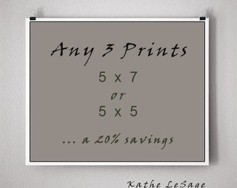 ANY 3 PRINTS - 5x7 or 5x5 Signed Fine Art Photographs ... a 20 percent savings.