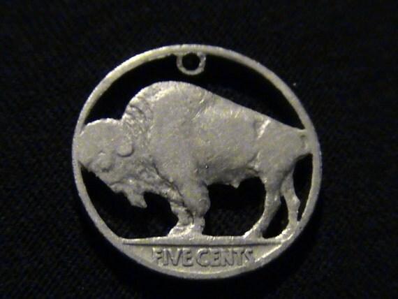 1937 US Buffalo Nickel Cut Coin Pendant