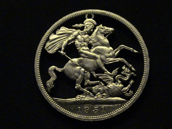 1951 Great Britain - cut coin masterpiece - w/ St. George Slaying the Dragon - MUST SEE