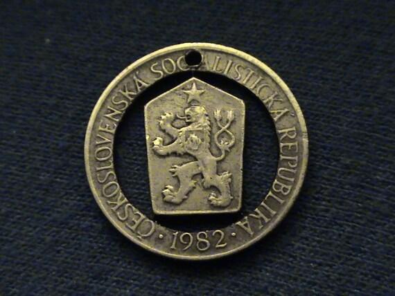 Czechoslovakia - cut coin pendant - w/  Lion - 1982 - Czechoslovakian Socialist Republic