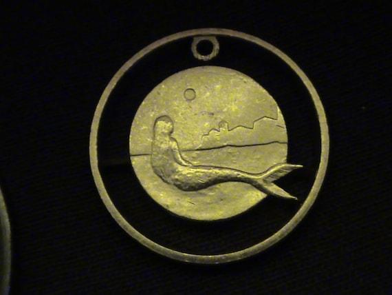 DENMARK - cut coin jewelry - 2005 - w/ Mermaid, City and Moon