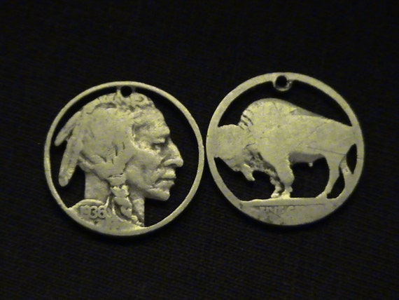 cut coin jewelry set - Buffalo and Indian Chief pendants - 1936 and 1929 - LOW PRICE