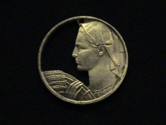YUGOSLAVIA - cut coin jewelry - 1955 - w/ Farmer Woman
