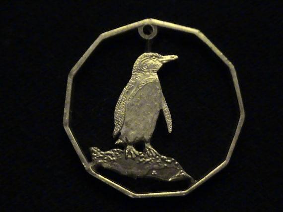 GALAPAGOS ISLANDS - cut coin pendant - 2008 - w/ Emperor Penguin
