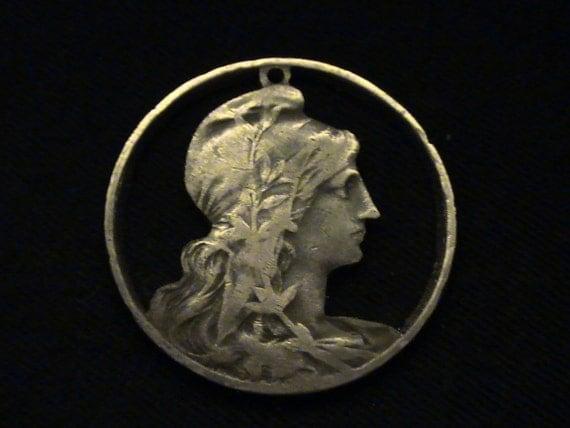 1912 - cut coin pendant - FRANCE - w/ Lady Liberty