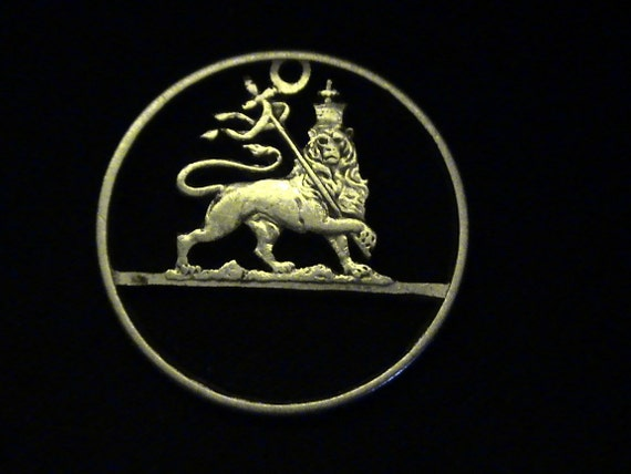 1936 Ethiopia - cut coin pendant -  w/  Lion of Judah - SILVER - rare piece