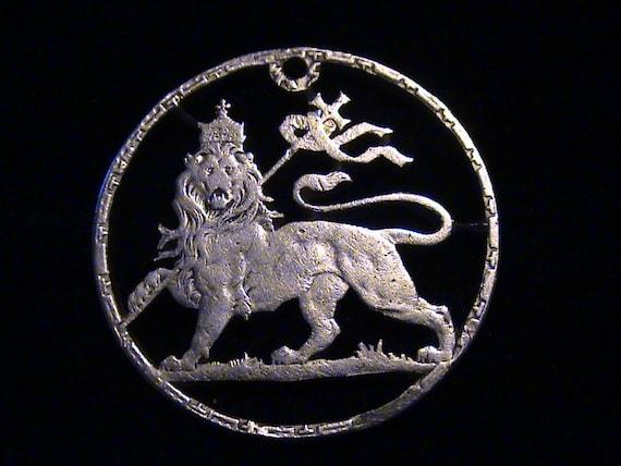 Silver 1895 Ethiopia - cut coin pendant - w\/ Lion of Judah -