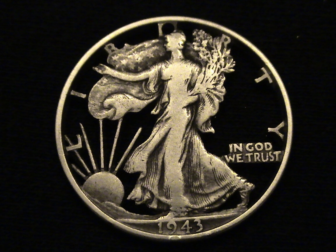1943 Us Walking Liberty Cut Coin Pendant 900 Pure Silver