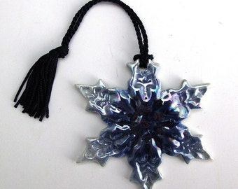 Porcelain Handmade Pearl and Cobalt Snowflake (pointed)