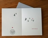 love letterpress greeting card with pink bird and grey birds with heart