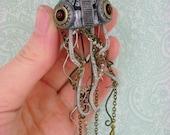 Mechanical Jellyfish - Dark Metallic Aquatic Creature - Industrial Steampunk Pendant / Necklace