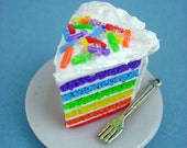 Rainbow Cake Slice with Rainbow Jimmie Sprinkles - Miniature Food - Pendant / Necklace