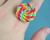 Tutti Frutti Rainbow Swirl - Hard Candy Polymer Clay - Adjustable Ring