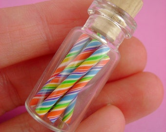 Tutti Frutti - Old Fashioned Candy Sticks - Nostalgic Rainbow Candy - Pendant / Necklace