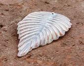 white leaf pendant SHABBY patina metal focal 2 pcs, white leaf charm, white patina pendant