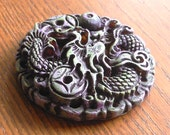 altered dragon pendant hand painted round RESIN one of a kind focal