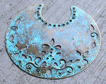 VERDIGRIS patina antique bronze crescent moons 2 pcs, moon pendant, verdigris moon, altered focal