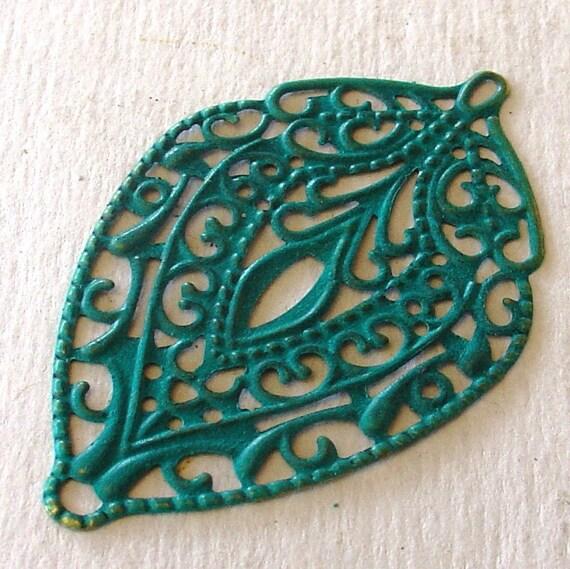 earring drops , TRELLIS green - large faux patina metal shield filigree pendant charm 2 pcs