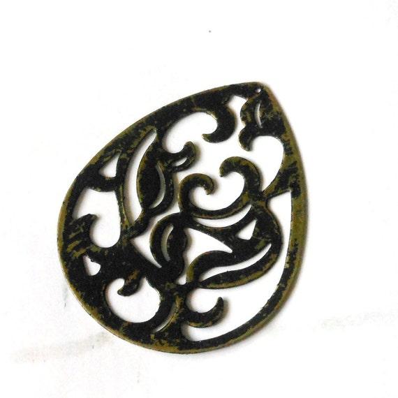 black pendant, large chunky altered EBONY black antique bronze scroll filigree 4 pcs