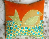 double vision pillow - orange with tan bird