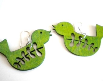 Green Wooden Bird Earrings