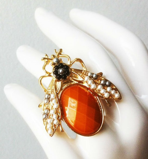 Cicada Ring - Gold and Burnt Orange