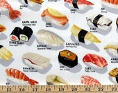 Fat Quarter- Chopsticks Please Sushi Bar White Robert Kaufman Fabrics ED-2073-1 White