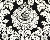 One (1) Yard- Delovely Damask Black Interlock Knit Fabric by Michael Miller