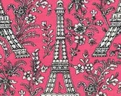 Two (2) Yards - Bright Pink Eiffel Tower Michael Miller Fabric C1248 Pink