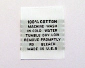 100% Cotton Woven Garment Apparel Care Labels (Package of 50) WS