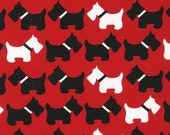 FAT QUARTER - Dogs on Red Urban Zoologie by Robert Kaufman Fabrics 11511-3