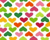 One-half (0.5) Yard - Laguna Cotton Jersey Knit Multi Colored Hearts by Robert Kaufman Fabrics AAKBF-12868-193 SUMMER