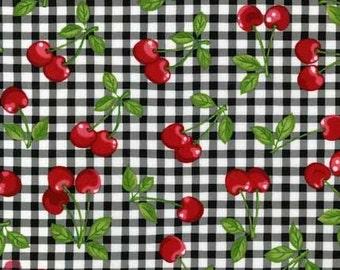 Fat Quarter- Onyx Black white Cherries Cherry Kaufman gingham